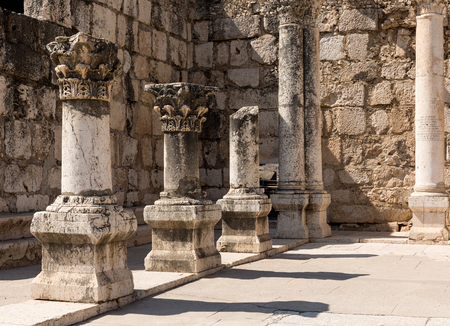 the gospels: Inside of ancient synagogue in Capernaum - Israel