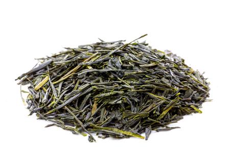 sencha: Heap of leaves of green japanese sencha tea, closeup, frontview,  isolated on white background.