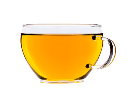 Cup of tea, green chinese gunpowder tea, isolated on white, clipping-path included Stok Fotoğraf