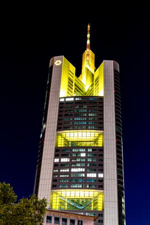 Frankfurt, Germany, October 5th, 2018 - Skycraper of the german financial institution Commerzbank in Frankfurt downtown at night