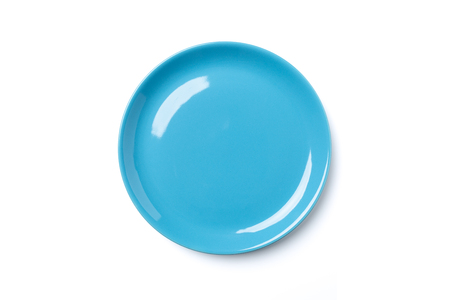Pastel blue colored plate isolated on white background, view directly from above, clipping path, without the cast shadow, included.