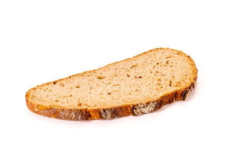 one single slice of bread isolated on white background, front view