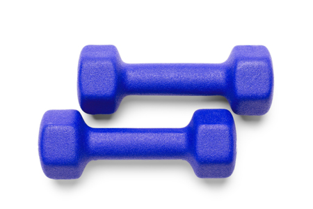 Two blue dumbbells isolated on white background, top view. Clipping-path, except the shadows, is included. Imagens
