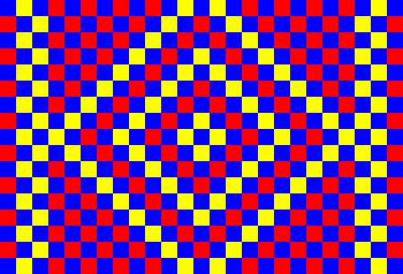 Garishly bright mosaic background of blue, red and yellow squares Çizim