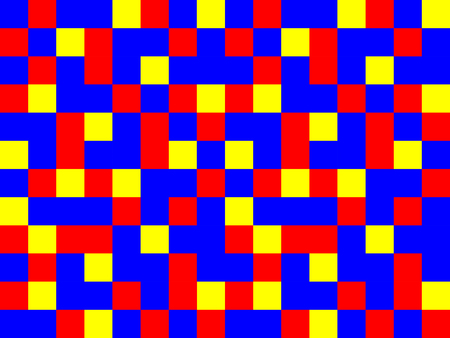 abstract blue red yellow garishly background of patterned sqares