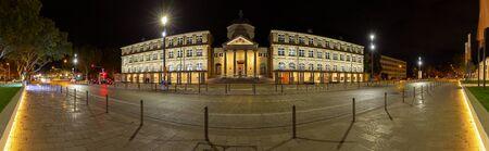 Wiesbaden, Germany - October 27th. 2018 - Panorama night shot of the Museum Wiesbaden