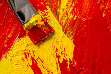 abstract colorful real oil painting with paintbrush background