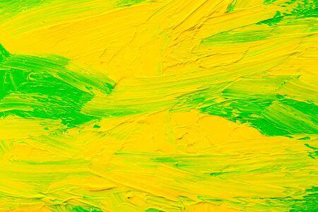 Abstrakter gemalter Hintergrund. Hintergrund wurde mit grüner und gelber Ölfarbe auf Leinwand von Hand gemalt.