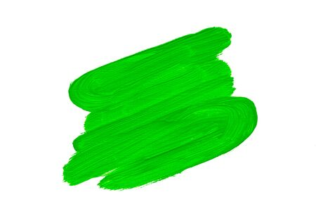 Abstract green real oil painting brush strokes isolated on white background Zdjęcie Seryjne