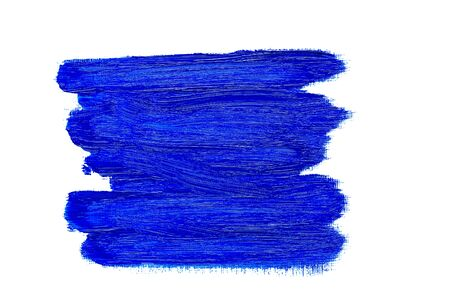 Abstract blue real oil painting brush strokes isolated on white background, painted with cobalt blue oil color.