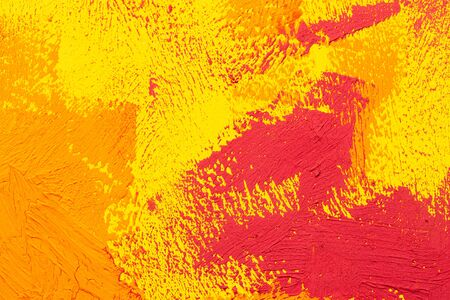 Abstract yellow orange red real oil painting brush strokes full frame