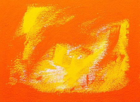 Abstract red, orange and yellow brush strokes, real tempera painting on canvas by hand full frame