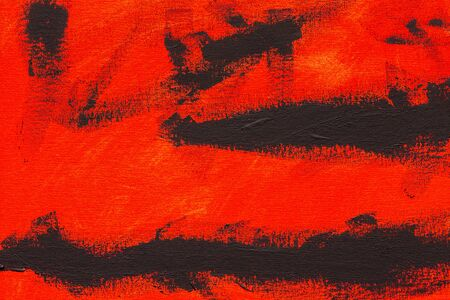 Abstract red and black brush strokes, real tempera painting on canvas by hand full frame