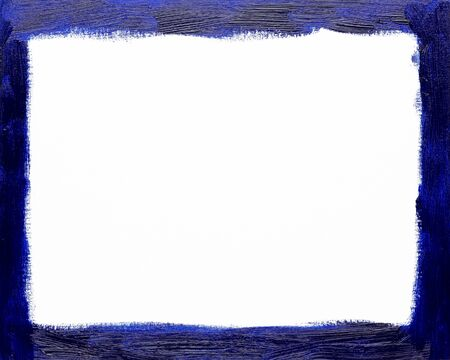 Rectangular blue picture frame painted background isolated on white background. Painted with real oil color by hand on canvas.