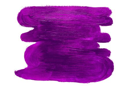 Abstract violet purple brush strokes rectangle, real oil painting on canvas by hand, isolated on white background