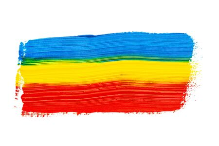 Abstract multicolored real oil painting brush strokes isolated on white background, painted with blue, yellow and red oil color by hand.