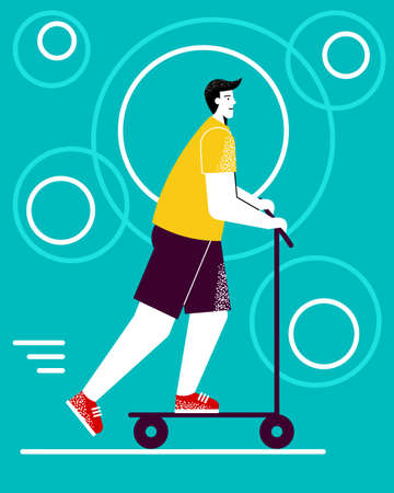 Modern, young man rides a scooter. Illustration Stock Illustratie