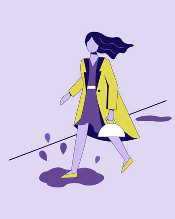 A bright girl in a yellow raincoat walks down the street after the rain. She stepped in a puddle. Illustration