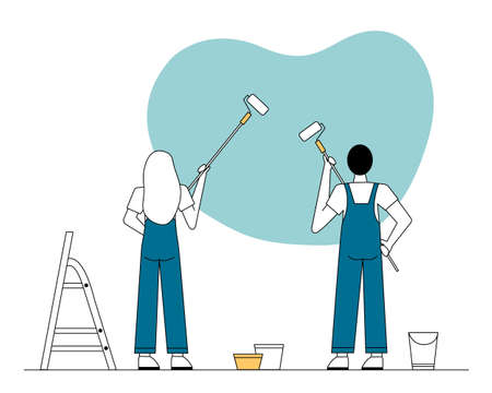 A man and a woman in overalls paint the wall with rollers. There is a stepladder nearby. Vektorgrafik