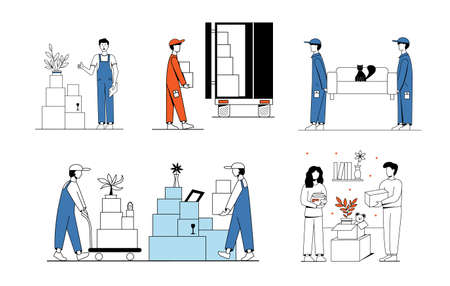 A set of illustrations on the subject of moving. Movers carry the sofa, load boxes into the truck. A couple of men and women are packing things.