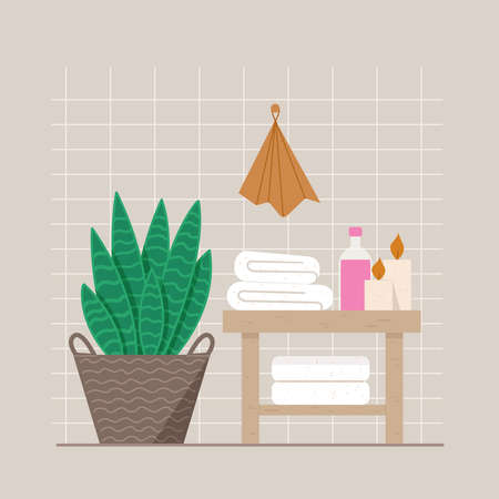 Outdoor plant in a wicker basket. There are white towels and a bottle of shampoo on the bathroom table. Candles are burning. Çizim