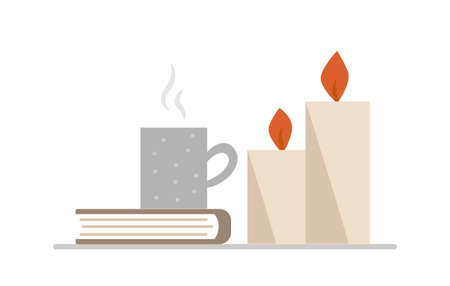 A composition of burning candles, a cup of coffee and a book on the table. Isolated on a white background. Vektorové ilustrace