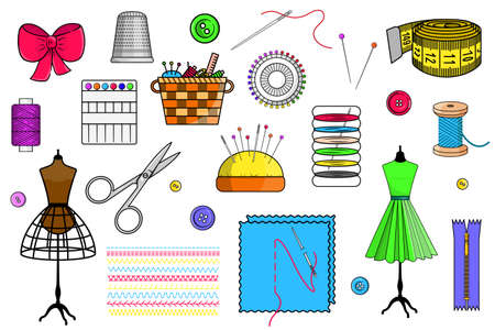 A set of sewing items: a mannequin, scissors, thread, pins, needles, stitches, a zipper, a centimeter ribbon on a white background