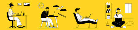 Men and women work, study on a laptop at home remotely online. They sit in a chair, legs stretched out, on the floor, at a table. Deadline. Linear style.