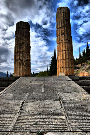 View of the main monuments of Greece. Delphi. Oracle of Delphi