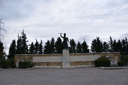 Panoramic view of the main monuments and places of Greece. Monument to the Spartans and Leonidas in homage to the Battle of Thermopylae
