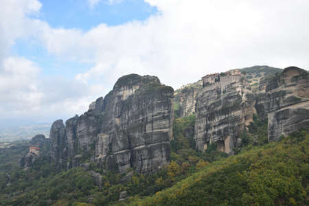 Panoramic view of the Meteora region, in Greece. Meteora monasteries