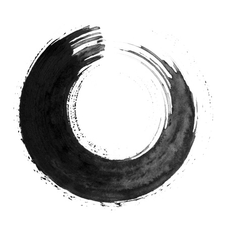 brush stroke: Black calligraphic circle