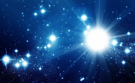 Illustrated space full of shiny stars Stock Photo