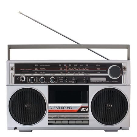 recorder: Retro boombox radio isolated on white Stock Photo