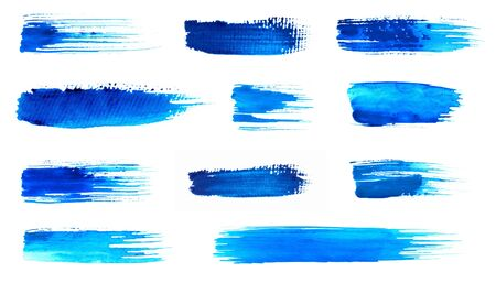 Blue ink strokes on white background
