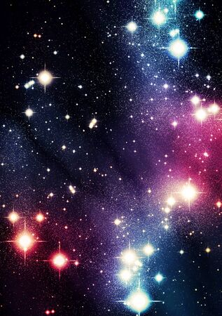 heavenly light: Colorful universe with bright stars Stock Photo