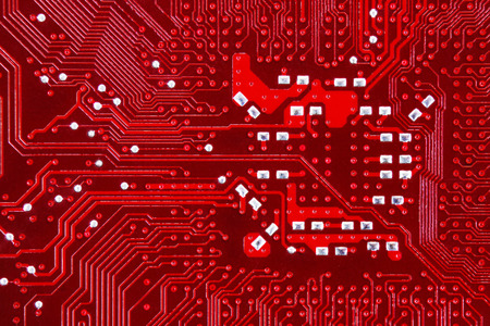 circuitry: New red computer circuit board