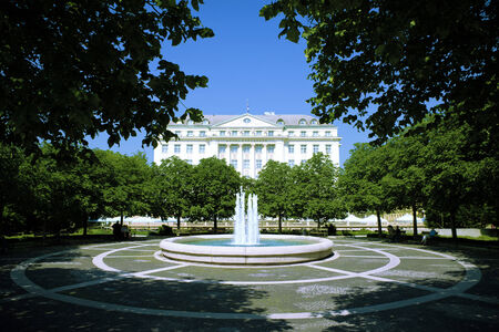 Old building and fountain in Zagreb, Croatia Stock Photo - 26116134