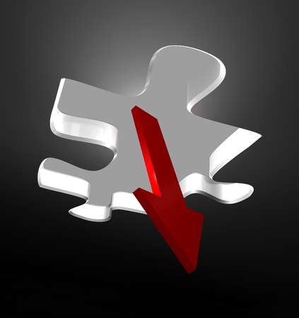 worse: Red arrow showing decreasing business  Stock Photo