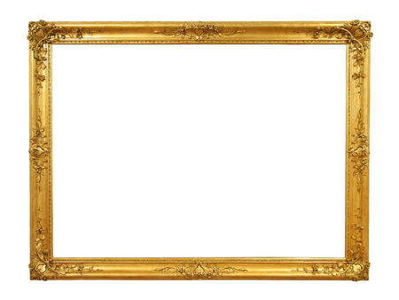 decorative wall: Decorative old golden picture frame  Stock Photo