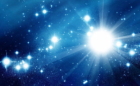 heavenly light: Bright stars in blue space