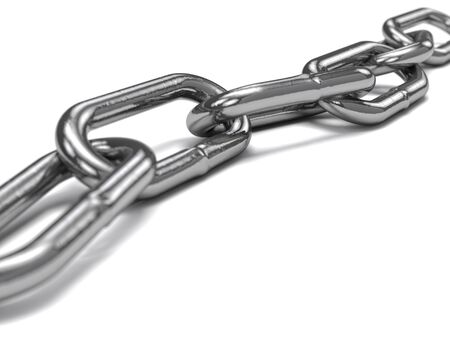 steel chain over white background Stock Photo