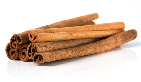 Isolated cinnamon bark on a white background Stock Photo