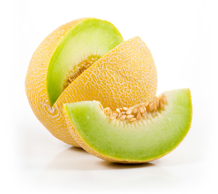 Sliced Cantaloupe Isolated on White  Stok Fotoğraf