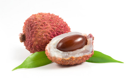 isolated two Lychees with leafs on white