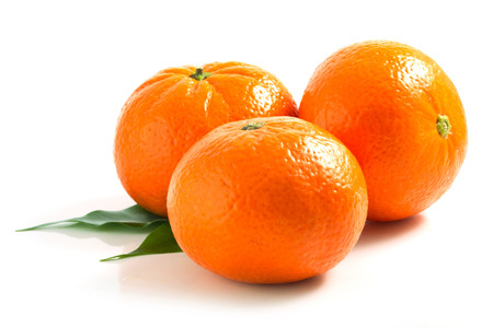 Three isolated tangerine on white background Stok Fotoğraf