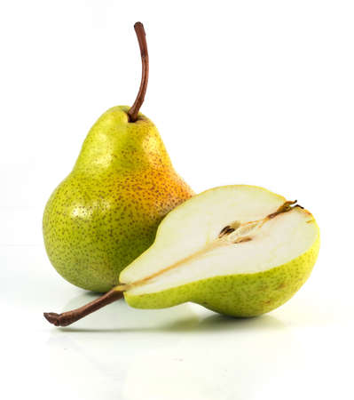 Delicious green pears isolated on white Stock Photo