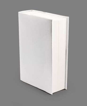 Blank book with white cover on gray background  photo