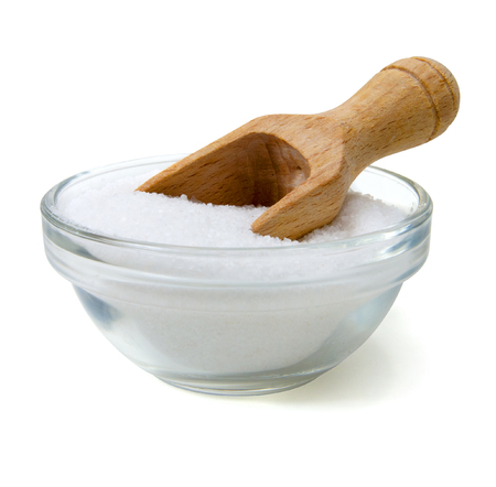 bowl salt with wooden shovel isolated on white Stok Fotoğraf