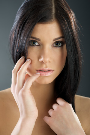 Woman with beauty long brown hair Stock Photo